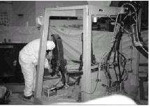Technician performs maintenance
