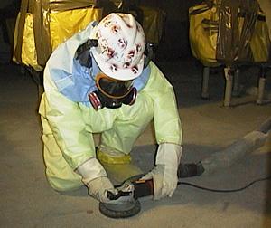 Decontamination of concrete floor