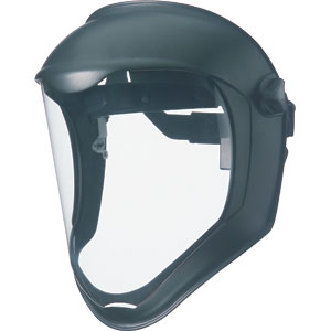 Faceshield with clear uncoated polycarbonate visor