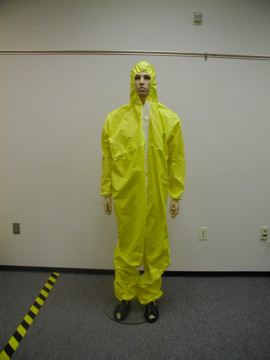 A man dressed in StayCool Waterproof disposable coveralls