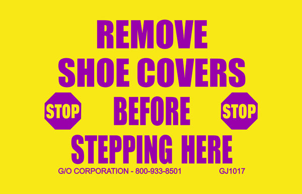 """Mat - Nitrile Rubber - 140 mil thick 20"""" x 30"""" yellow w/magenta print: Remove Shoe Covers Before Ste"""