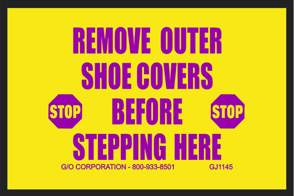 """Mat - Nitrile Rubber - 140 mil thick 20"""" x 30"""" yellow w/magenta print: Remove Outer Shoe Covers Befo"""