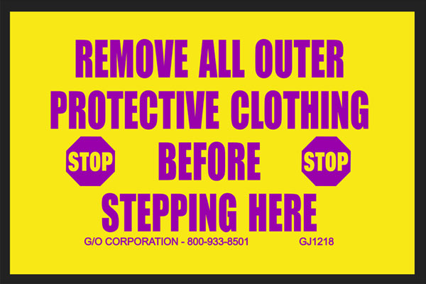 """Mat - Nitrile Rubber - 140 mil thick 20"""" x 30"""" yellow w/magenta print: Remove All Outer Protective C"""