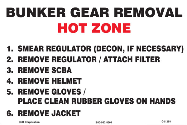 "Mat - Nitrile Rubber - 140 mil thick 20"" x 30"" White with black/red print: Bunker Gear Removal Hot Z"