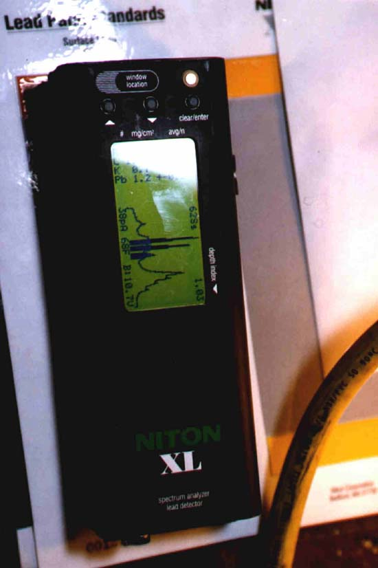 Close-up View reading of the lead painted analyzer