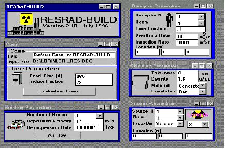 RESRAD-BUILD start window showing parameters.